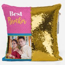 Personalized Magic sequin  Pillow for Best Brother with rakhi