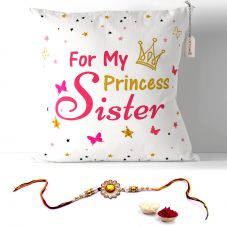 For My Princess Sister Cushion with Filler 12x12 Rakshabandhan Gifts