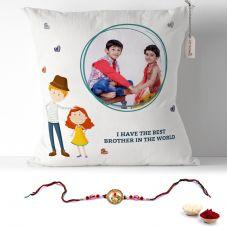Rakhi Photo Pillow for brother with rakhi