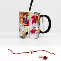 GiftsOnn Raksha Bandhan Printed  Black Magic Mug With Rakhi