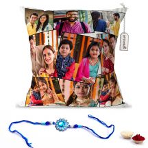 GiftsOnn Raksha Bandhan 9 Photos Printed Cushion & rakhi combo