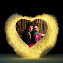 GiftsOnn Heart Shaped Personalized LED Fur Cushion