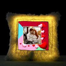 Square Shaped Personalized LED Fur Cushion