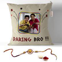 Daring Bro quote photo pillow with rakhi