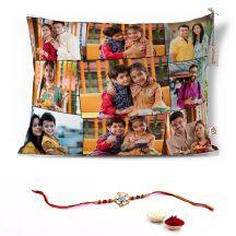 GiftsOnn Rakhi Combo with 9 Photos Printed 12x15 Cushion