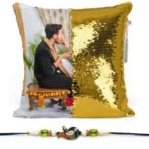 Photo Personalized Magic sequin  Pillow - White,12*12 inch with rakhi