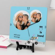 We Love To Travel quote With Your Message Square Clock