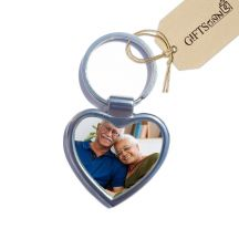 Heart Metal Photo Keychain  - 2 Side Printed