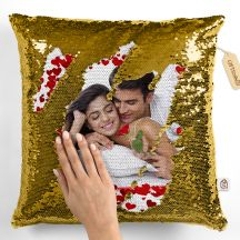 GiftsOnn Gold Sequin Personalized Magic Cushion