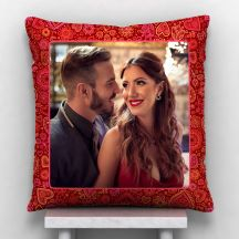 GiftsOnn Hearts & Roses Personalized Satin Cushion - 12x12