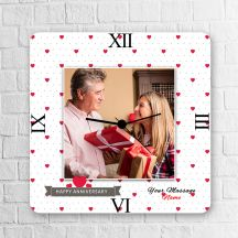 Happy Anniversary With Massage Square Personalized Clock