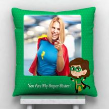You Are My Super Sister text White Satin Personalized Pillow