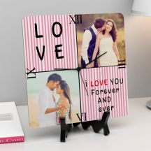 I Love You Forever and Ever Quote With 2 Photos Square Clock