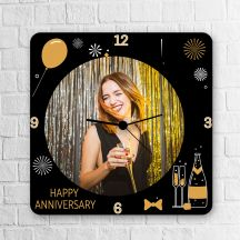 Wooden Personalized Square Clock Happy Anniversary