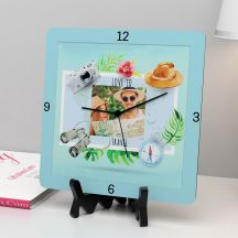 We Love To Travel quote With Your Photo Square Clock