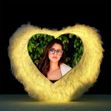 Heart Shaped Personalized LED Fur Cushion/pillow by GiftsOnn