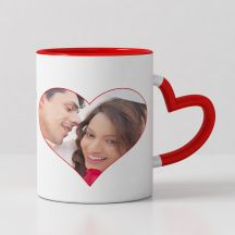 GiftsOnn Heart design with 1 photo printed red heart handle mug