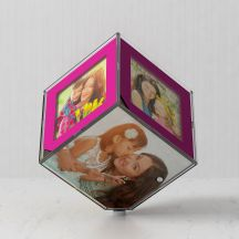 Personalized LED Rotating Photo Cube/Frame (Pink, 10x10 cm)