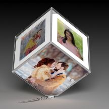GiftsOnn LED Rotating Photo Frame/Cube With Your 6 Photos