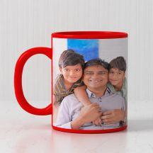 GiftsOnn Ceramic 300ml Personalized Photo Red Patch Mug