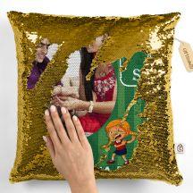 Bro & Sis Happy Raksha Bandhan Magic sequin Personalized Pillow