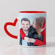 GiftsOnn Personalized Photo Red Heart Handle Mug