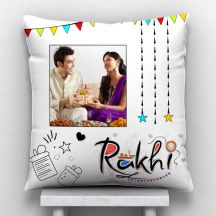 Raakhi A Bond Of Care & Love Photo Personalized Cushion White-12*12