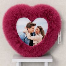 Pink Heart Shape Fur Photo Cushion with Your Photo