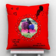 GiftsOnn Forever And Ever Personalized Text with Image Cushion