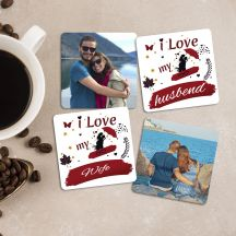 I love My Husbend/Wife with 2 Personalized Wooden Coasters (Set of 4)