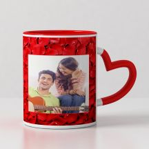 I love You Personalized Red Heart Handle Mug ( 3.7x3.2in, 320ml)