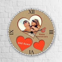 Happy Anniversary Personalized Round Clock With Name