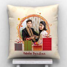 Raksha Bandhan Personalized Photo Satin Pillow/Cushion- White, 12*12