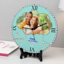 Personalized Happy Anniversary Wooden Round Clock With Name