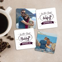 To the best Wifey/Hubby in the World Square Coaster (Set of 4)