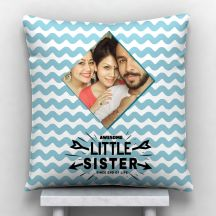 Awesome Little Sister Photo Personalized Cushion White-12*12