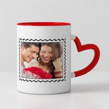 I Love You to the moon and back Printed Red heart handle mug