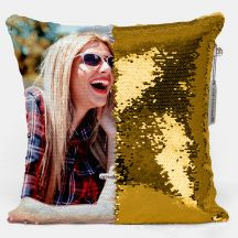 GiftsOnn Personalised Gold Sequin magic Pillow 12x12 Cushion with Filler