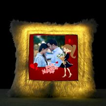 Happy valentine's day Square Shaped Personalized LED Fur Cushion