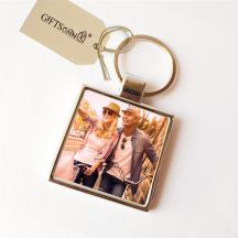 Metal Photo Key Chain - Square Shaped