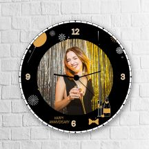 Wooden Personalized Round Clock Happy Anniversary