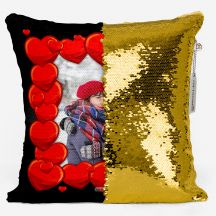 PERSONALIZED SQUARE SHAPED SEQUIN CUSHION MAGIC REVEAL PHOTO