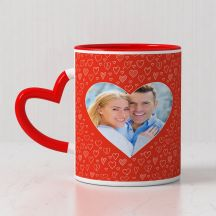 happy valentine's day Quote  with 1 photo printed red heart handle mug