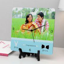 Congratulations Bride & Groom Personalized Square Clock