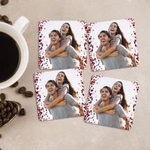GiftsOnn Photo with heart design Square Coaster (Set of 4)