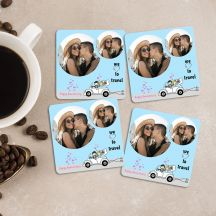 We Love To Travel quote With Your 4 Photos Square Coasters