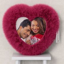 Personalized Pink Heart Shaped Fur Cushion