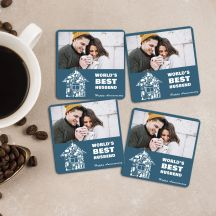 Wrold's Best Husbend Happy Anniversary  Square Coaster Set of 4