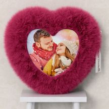 Heart Shape Fur Pillow Personalized with Your Photo