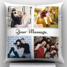 GiftsOnn 4 Photos with Custom Message Personalized Pillow 12x12 in